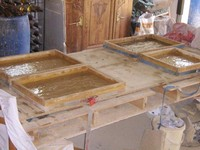 homemade wooden molds for paving stones